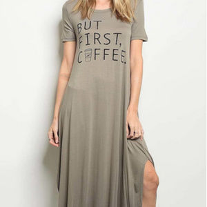 But First Coffee Jersey Knit Maxi Dress